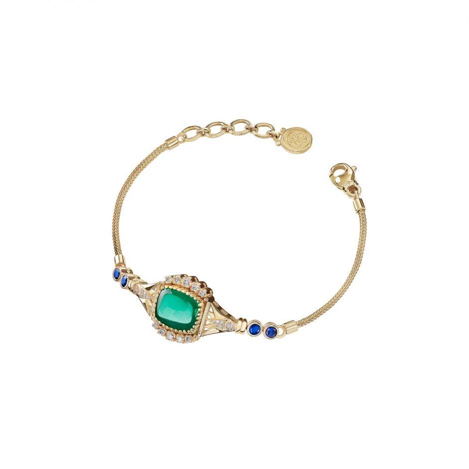Emerald & Sapphire Lotus Bracelet