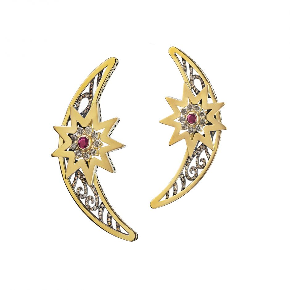 Ajour Crescent & Star Earrings