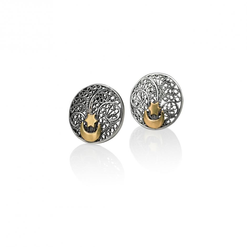 Button Filigree Earrings
