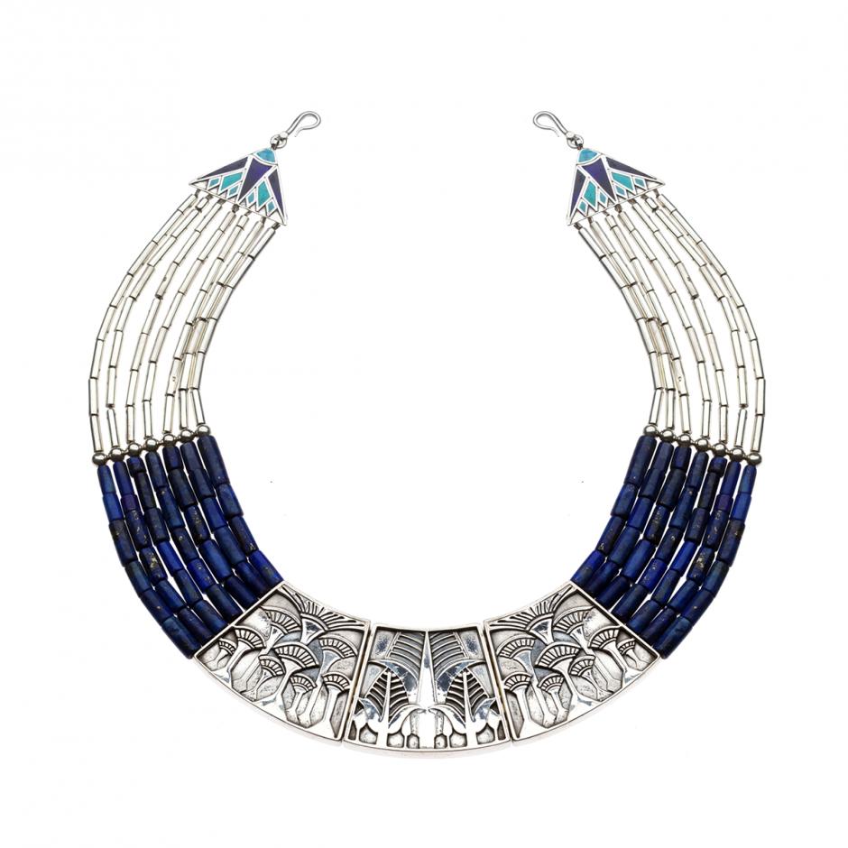 Silver Lapis Collar Necklace