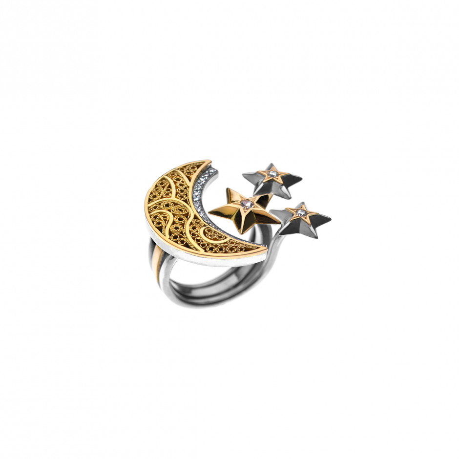 Diamond Crescent-Star Ring