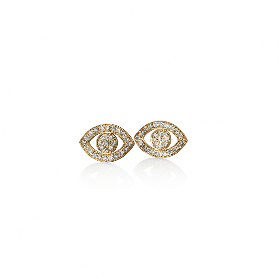 Diamond Gold Eye Earrings