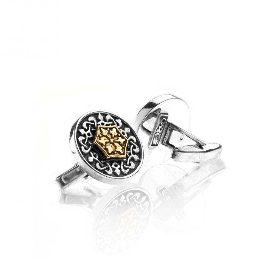 Geometric Silver/Gold Round Cufflinks